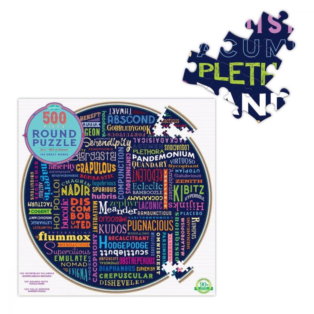 Eeboo 100 Great Words 500 Piece Round Puzzle