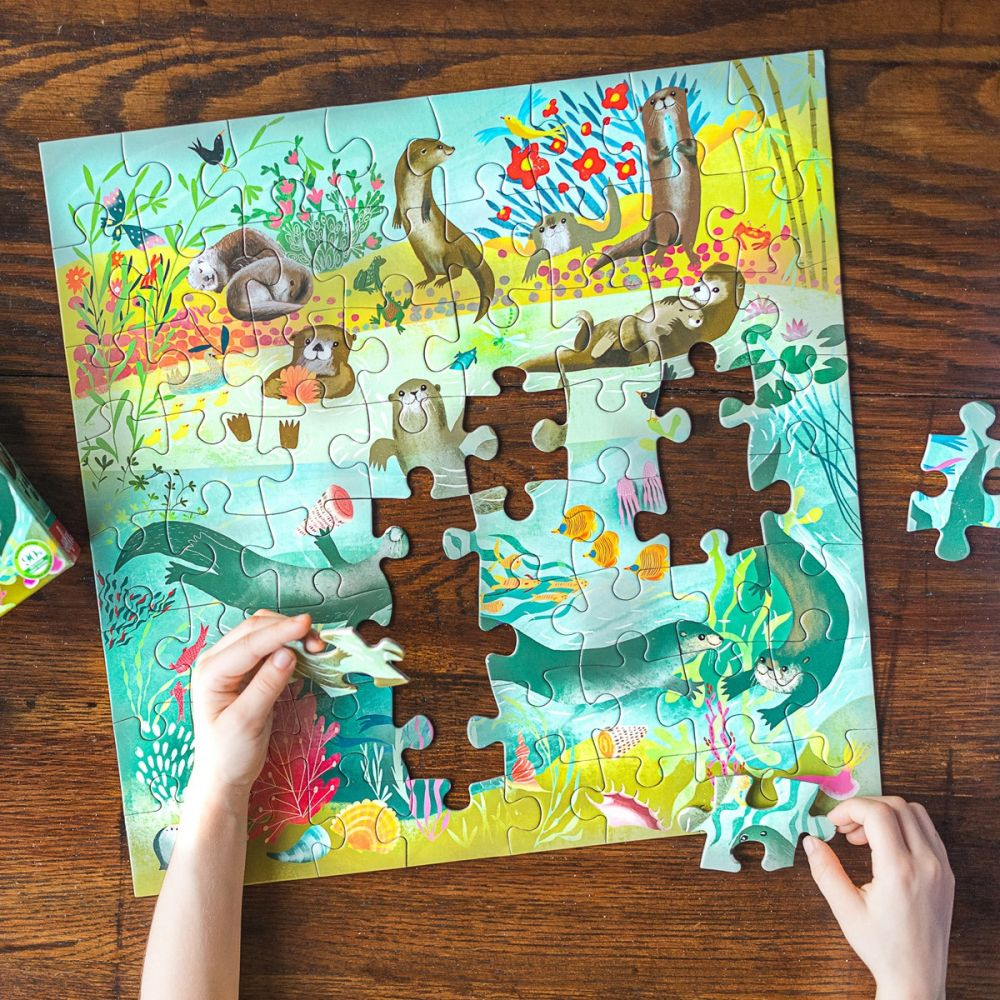 Eeboo Otters At Play - 64 piece puzzle