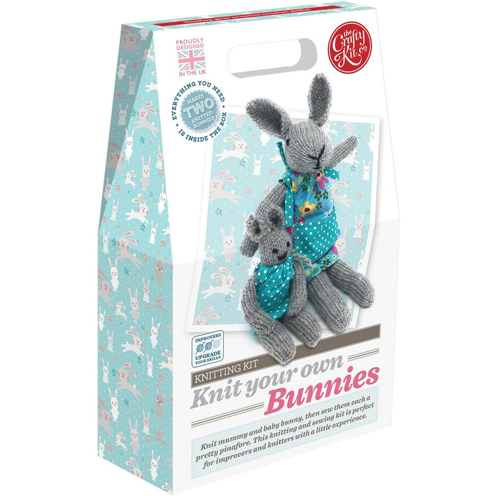 The Crafty Kit Co. Knitting Kit - Knit your own Bunnies