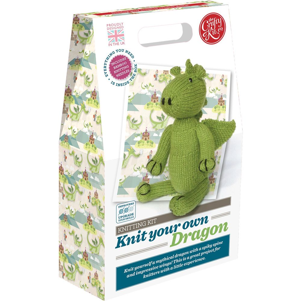 The Crafty Kit Co. Knitting Kit - Knit your own Dragon