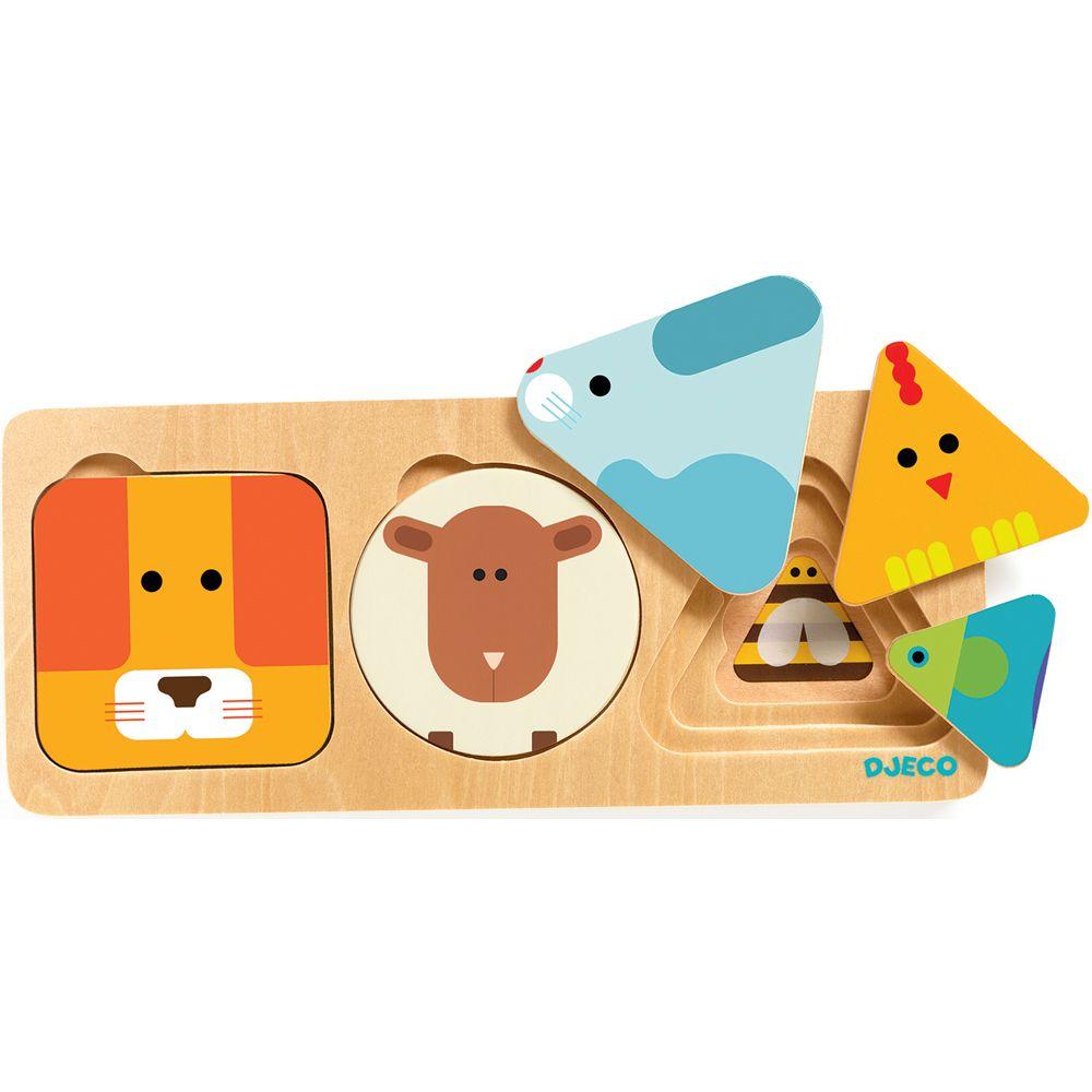 Djeco Wooden 3 layer Puzzle Anima Basic