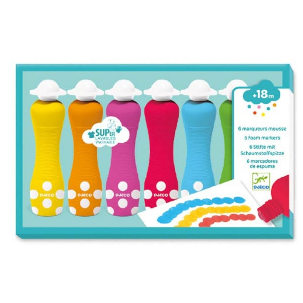 Djeco 6 Foam Markers For Little Ones