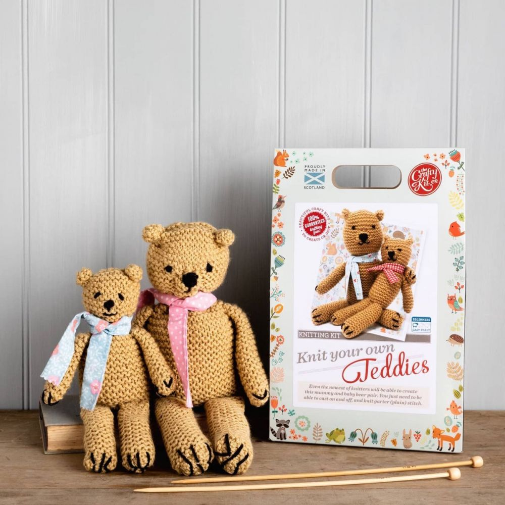 The Crafty Kit Co. Knitting Kit - Knit your own Teddies
