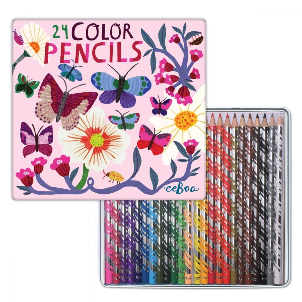 Eeboo 24 Deluxe Pencils - Butterflies & Flowers