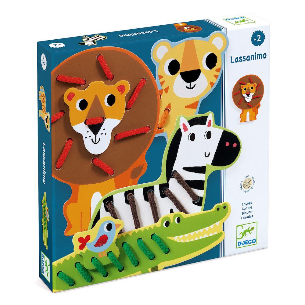 Wooden Zoo Animal Threading Set - Lassanimo