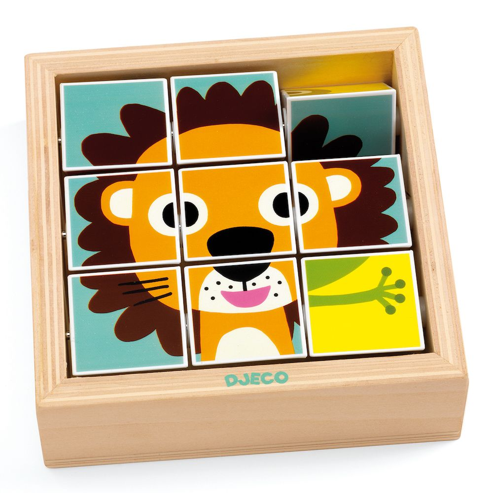 Djeco Toddler Wooden Block Puzzle - Tournanimo