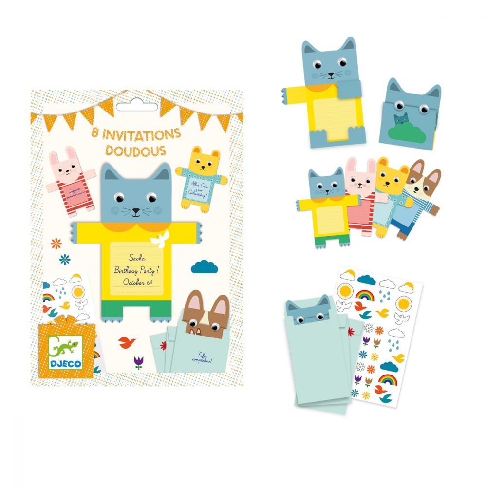 Djeco Party Invitations - Cuddly Animals - SAVE 25%
