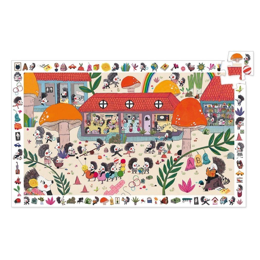 Djeco Observation Puzzle FSC Mix 54 pcs - Hedgehog School