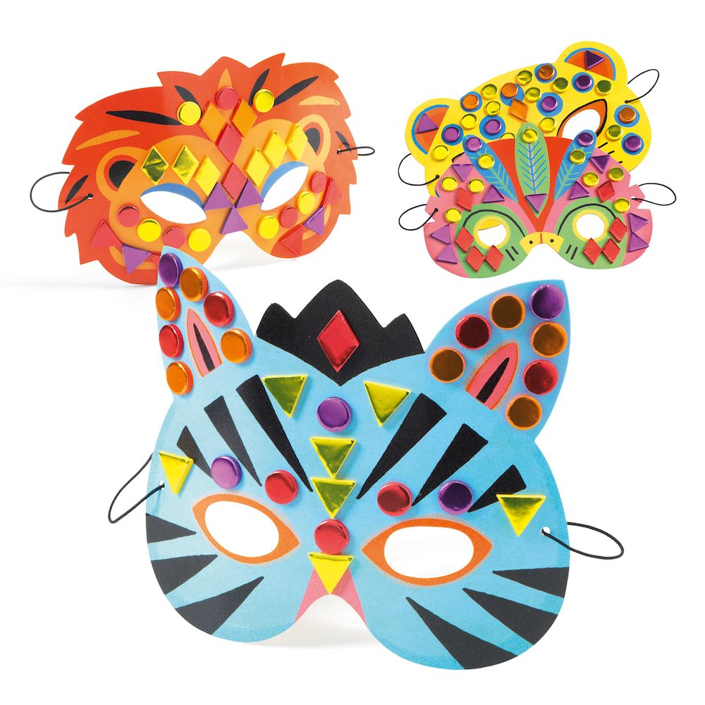 Djeco Do It Yourself - 8 Mosaic Masks to Decorate Jungle
