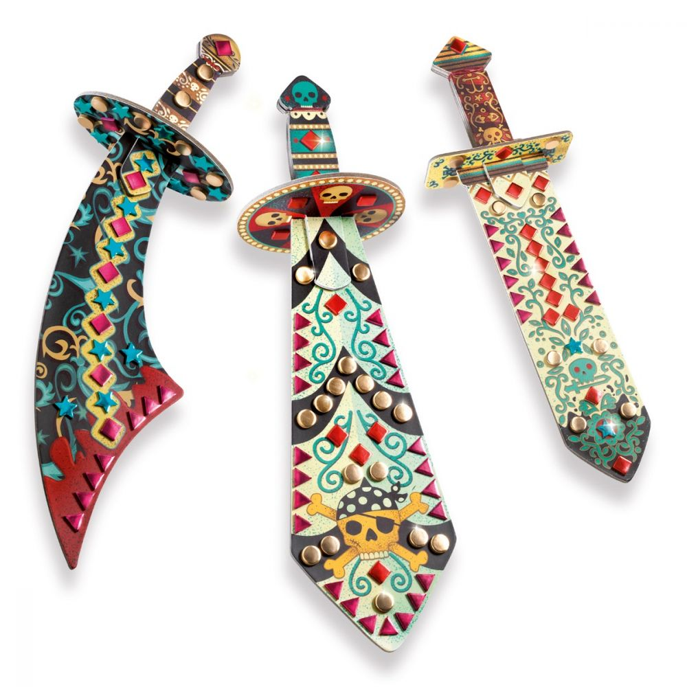 Djeco Do It Yourself - 3 Mosaic Swords to Decorate Like a Pirate