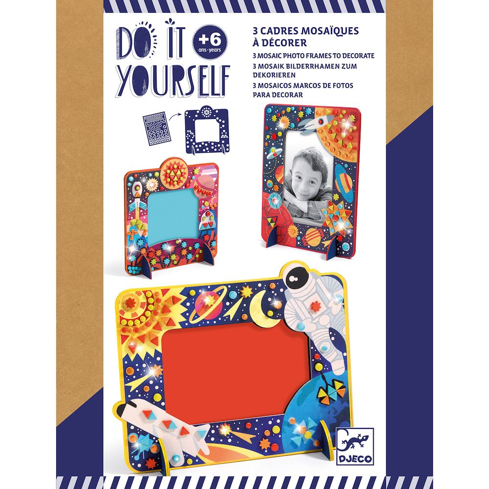 Djeco Do It Yourself Mosaic Photo Frames To Decorate - Space