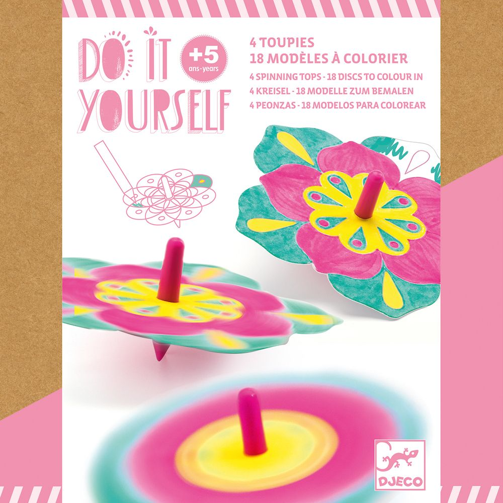 Djeco Do It Yourself - 4 Spinning Tops Flowers