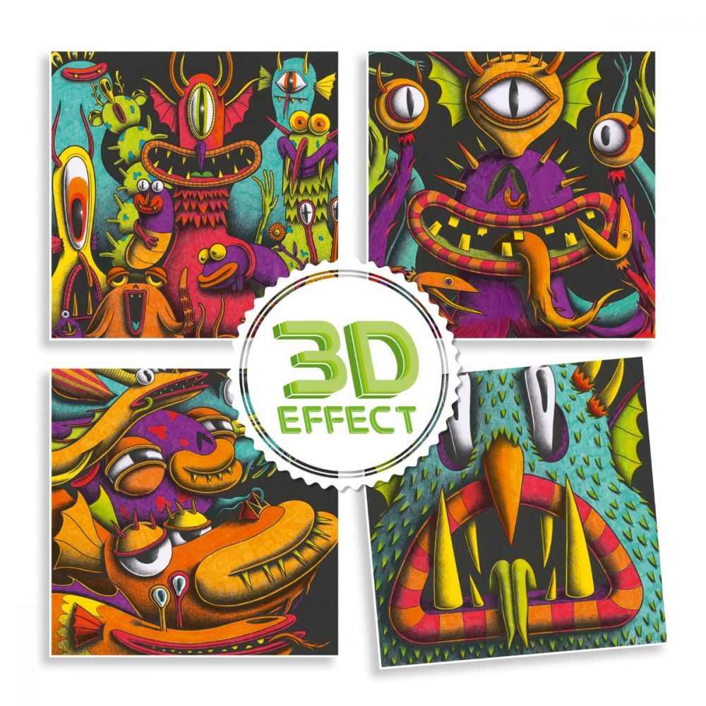 Djeco 3D Colouring - Funny Monsters