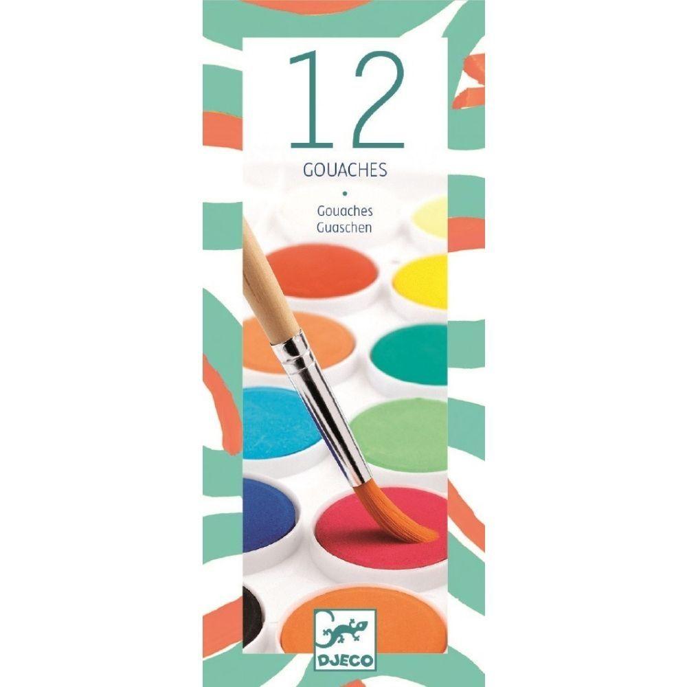 Djeco 12 Colour Paint Cakes - Classic