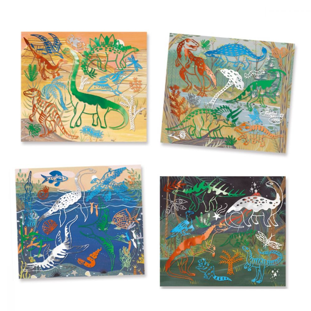 Djeco Artistic Patch Metal Collages - Dinosaurs