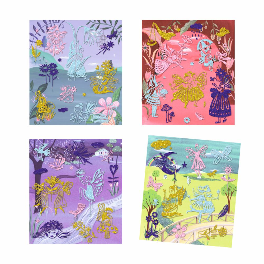 Djeco Artistic Patch Glitter Collages - Fairyland