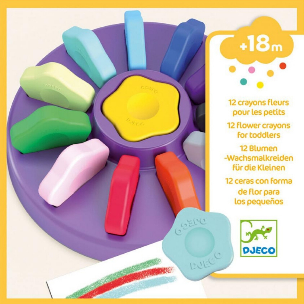 Djeco 12 Flower Crayons For Little Ones
