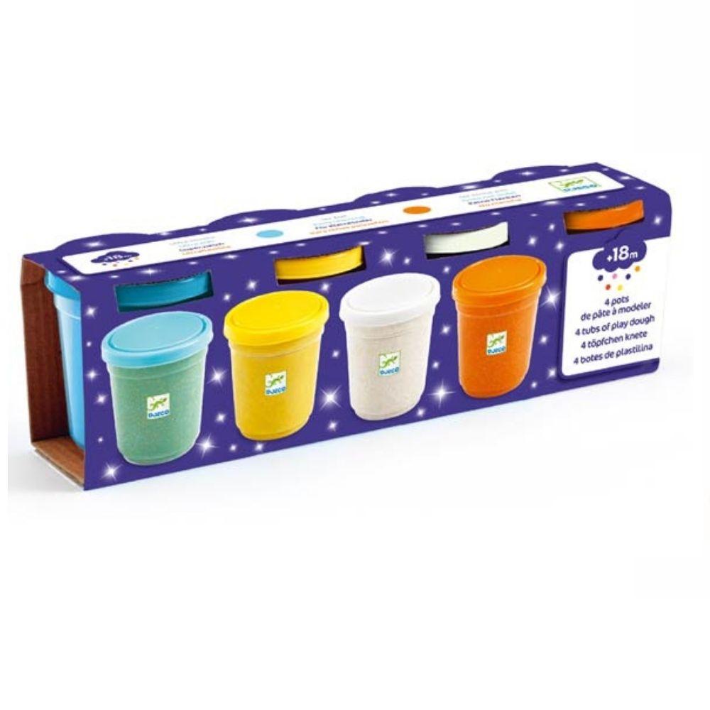 Djeco 4 tubs of modelling dough GlitterDJ09029