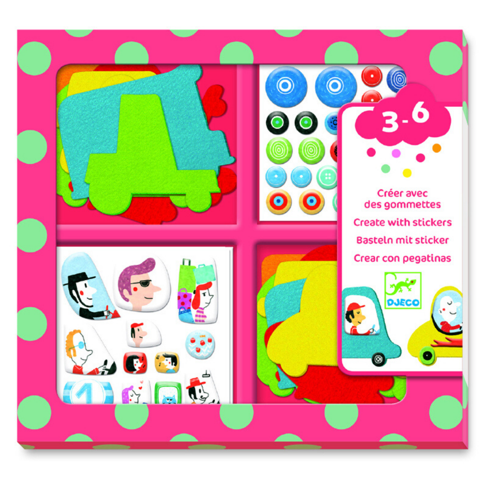 Djeco Create With Stickers - I Love Cars