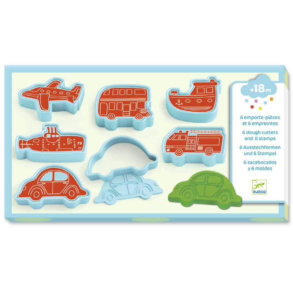 Djeco Play Dough - 6 Cutters and 6 Stamps - Vehicles