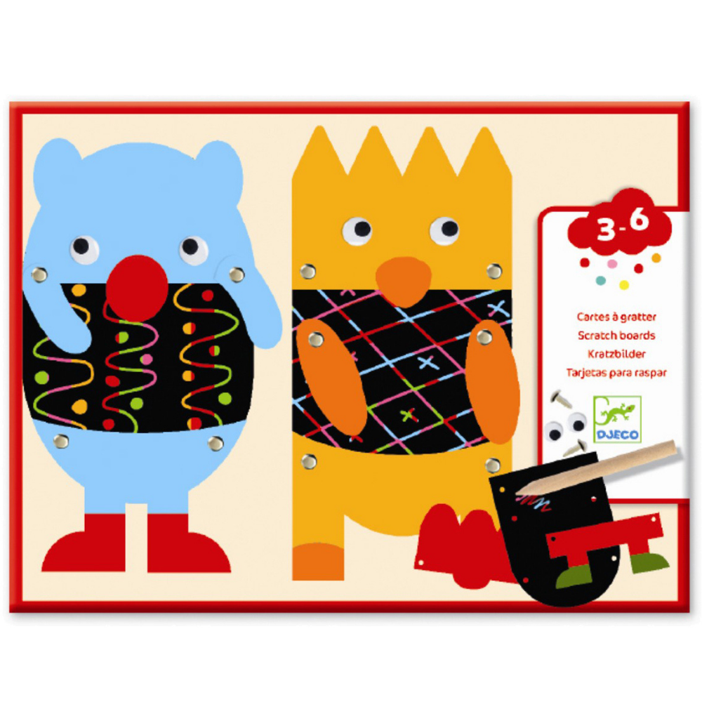 Djeco Scratch Boards - Scratch the Little Monsters