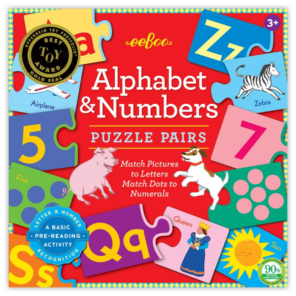 Eeboo Alphabet and Numbers Puzzle Pairs