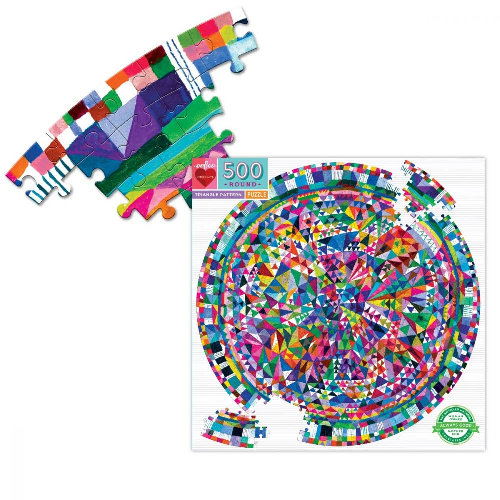 Eeboo Triangle Pattern 500 Piece Round Jigsaw Puzzle