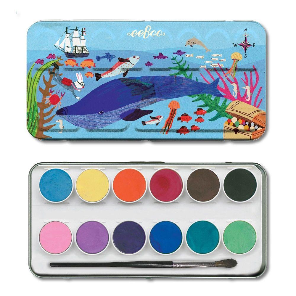Eeboo 12 Watercolours - In The Sea