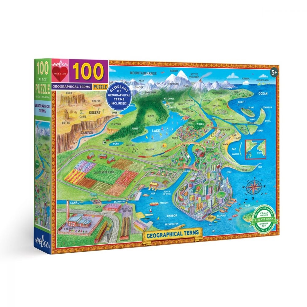 Eeboo Geographical Terms 100 piece puzzle