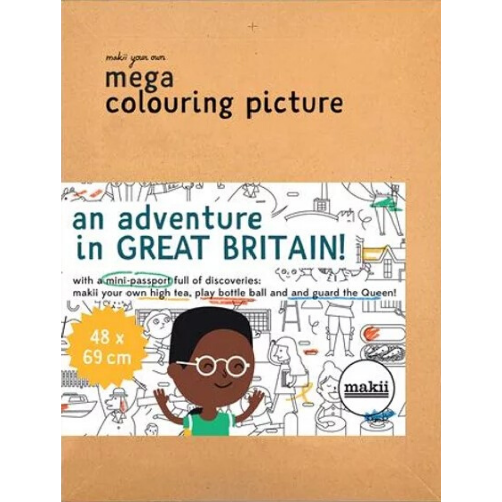 Makii Mega Colouring Picture - An Adventure in Great Britain!