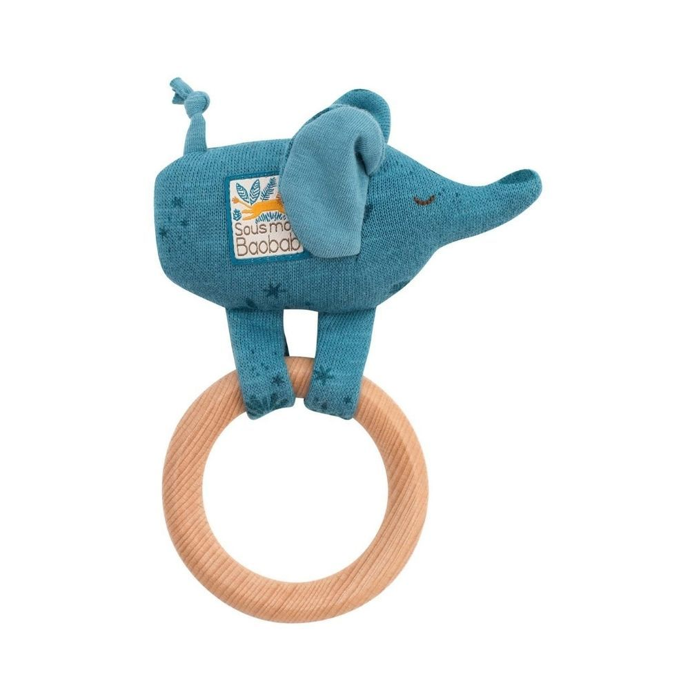 Moulin Roty Sous Mon Baobab - wooden elephant ring rattle 669007