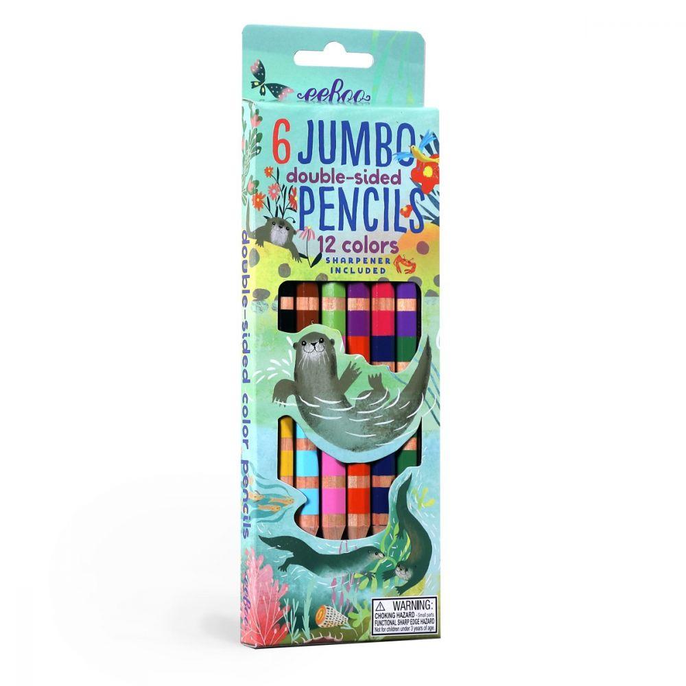 EeBoo 6 Jumbo Double Sided Pencils - Otters