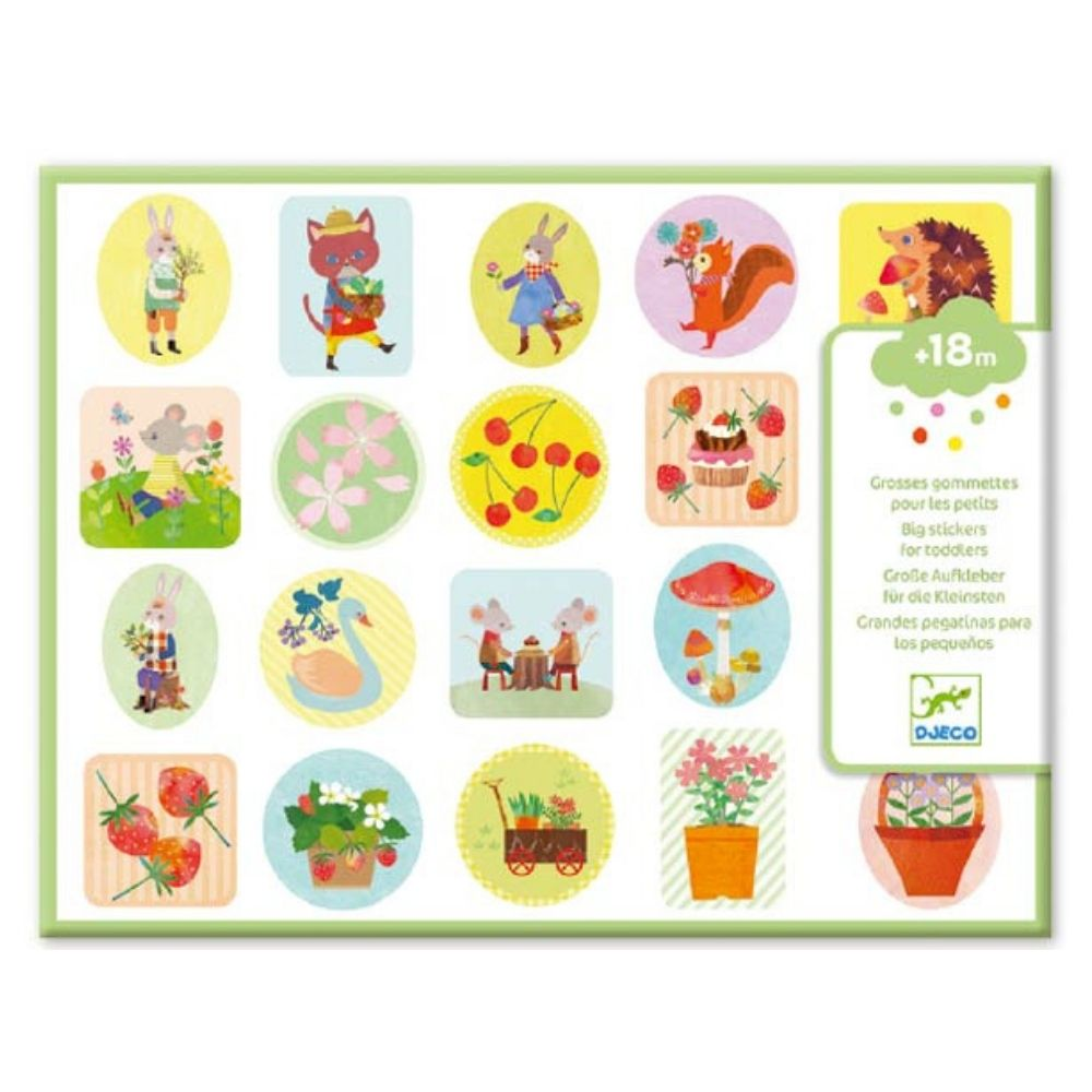 Djeco Easy Peel  Big Stickers for Toddlers - The Garden