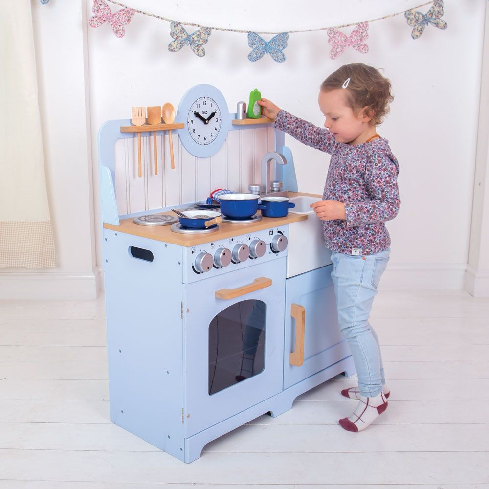 Bigjigs Country Play Kitchen - Blue