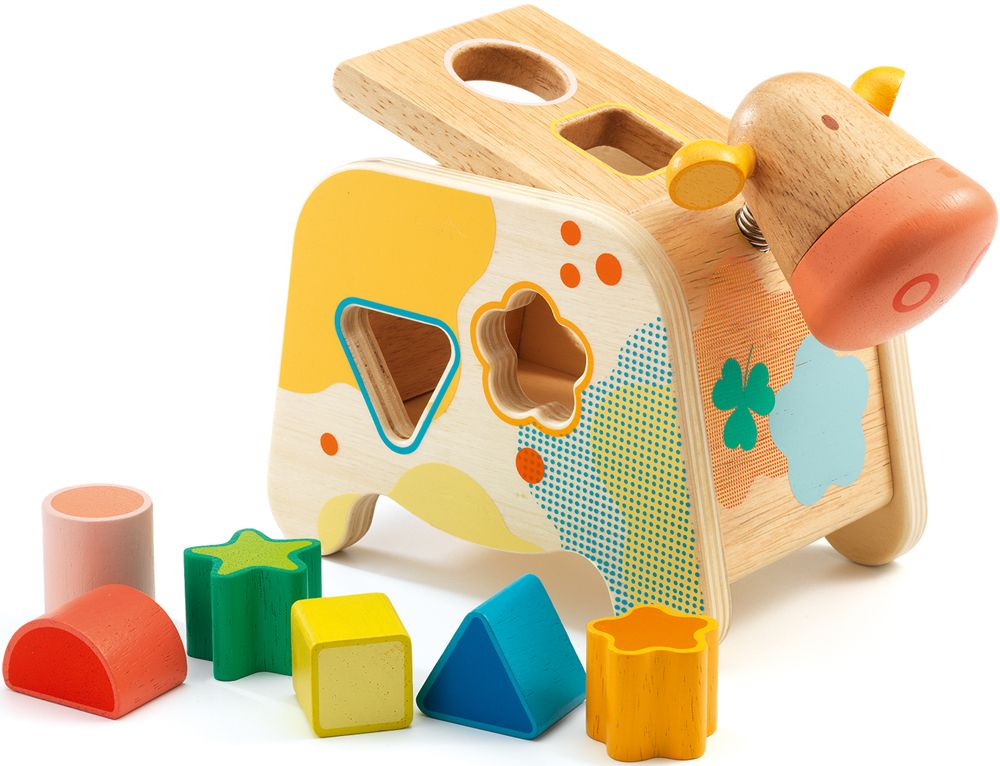 Wooden Cow Shape Sorter - Cachatou Maggy by Djeco