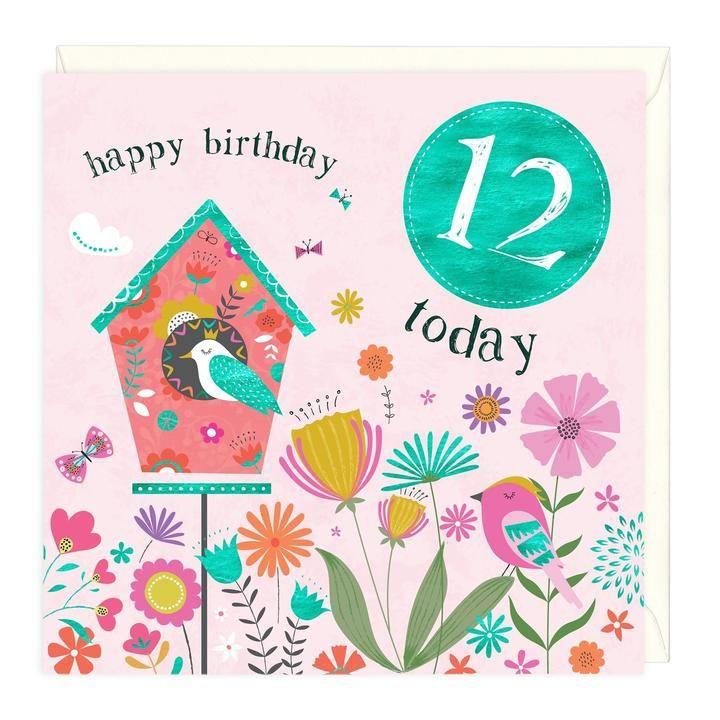 12th Birthday Card - Birdhouse