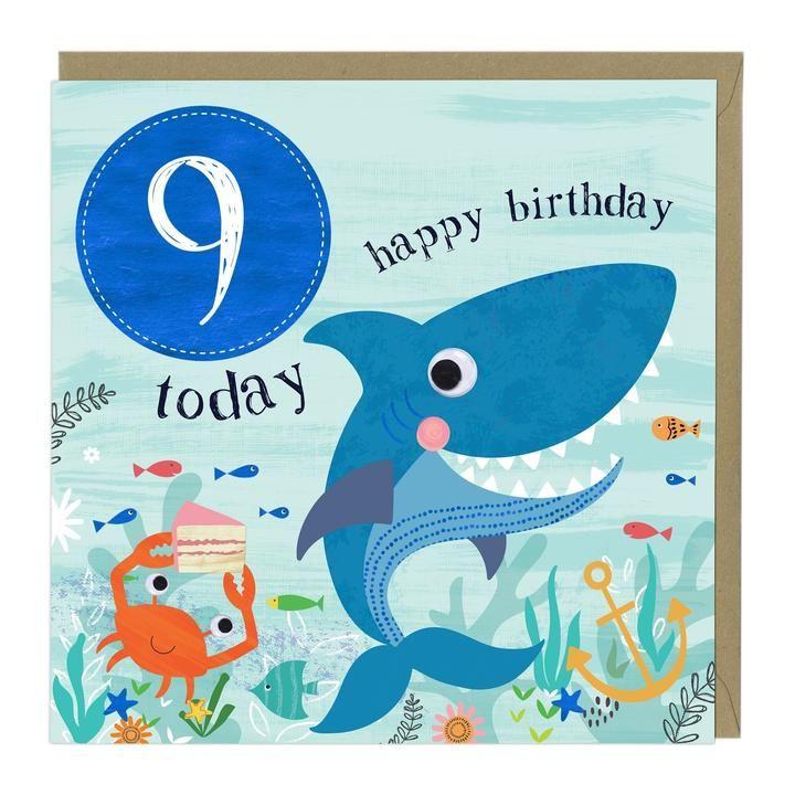 9th Birthday Card - Shark