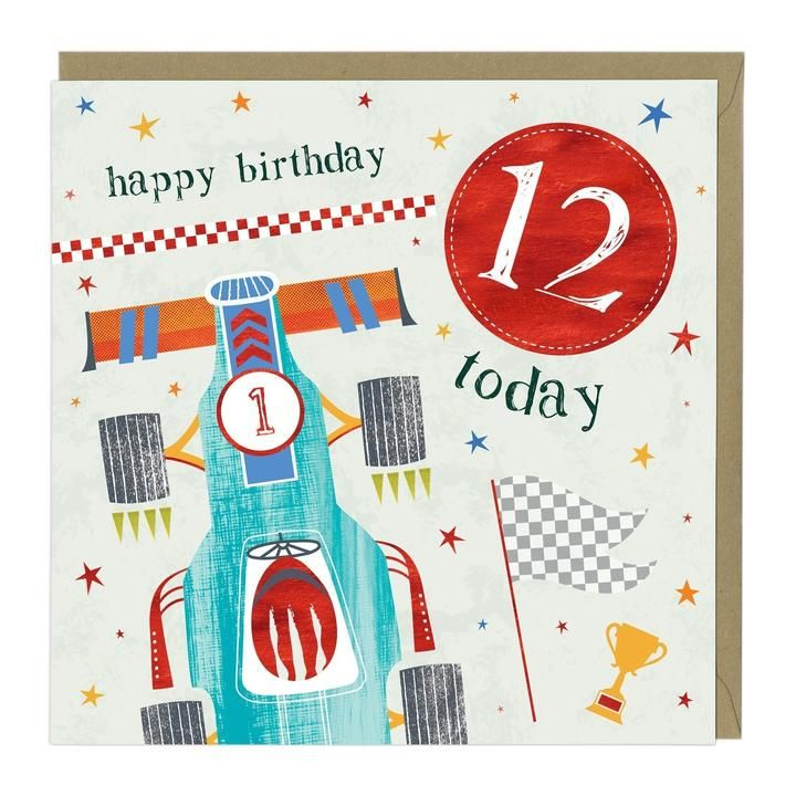 12th Birthday Card - Racing Car
