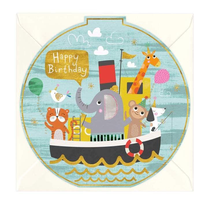 Happy Birthday - Animal Boat Round Card