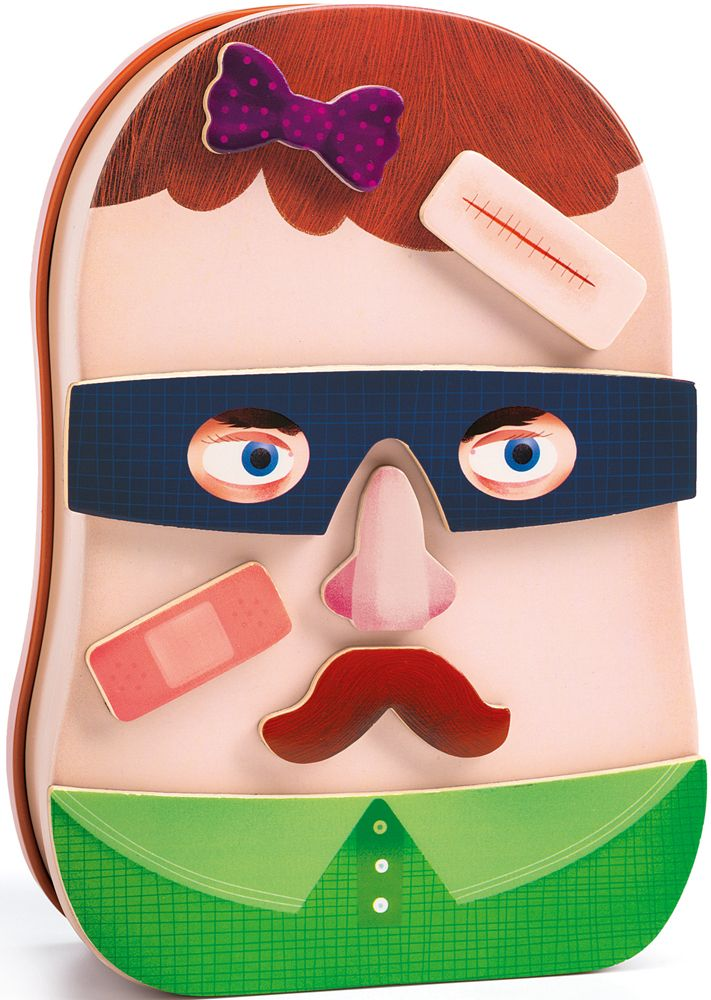 Wooden Funny Faces Magnetics - InZeBox Potraito by Djeco