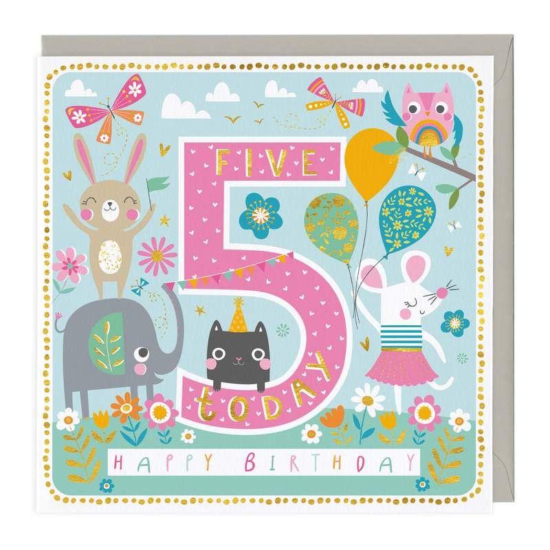 5th Birthday Card - Animal Party