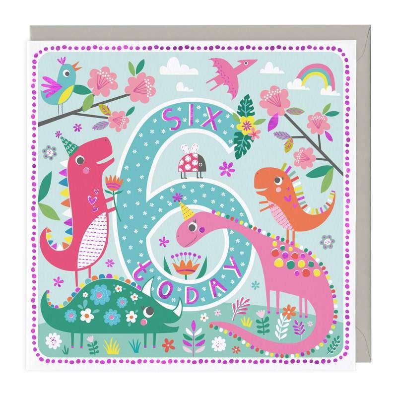 6th Birthday Card - Pink Dinosaurs