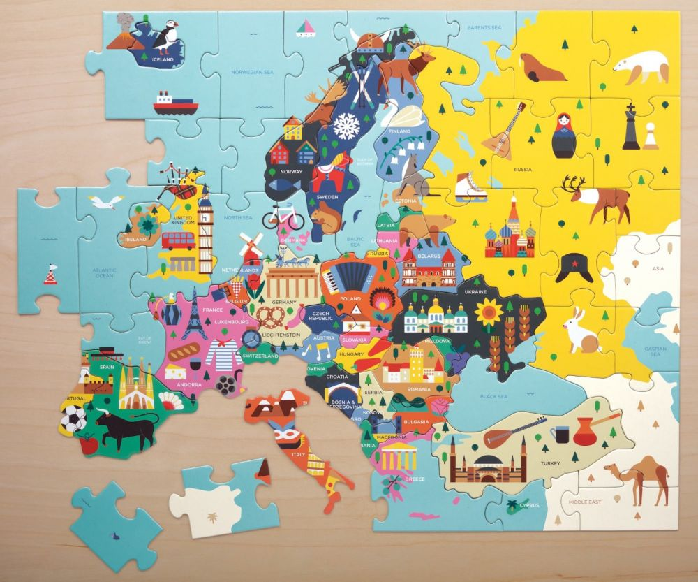 Mudpuppy Puzzle - 70 Piece Geography Puzzle / Europe