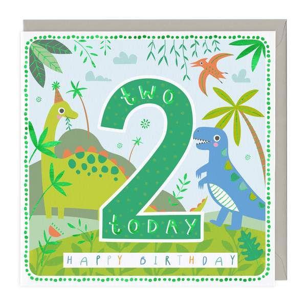 2nd Birthday Card - Happy Dinosaurs
