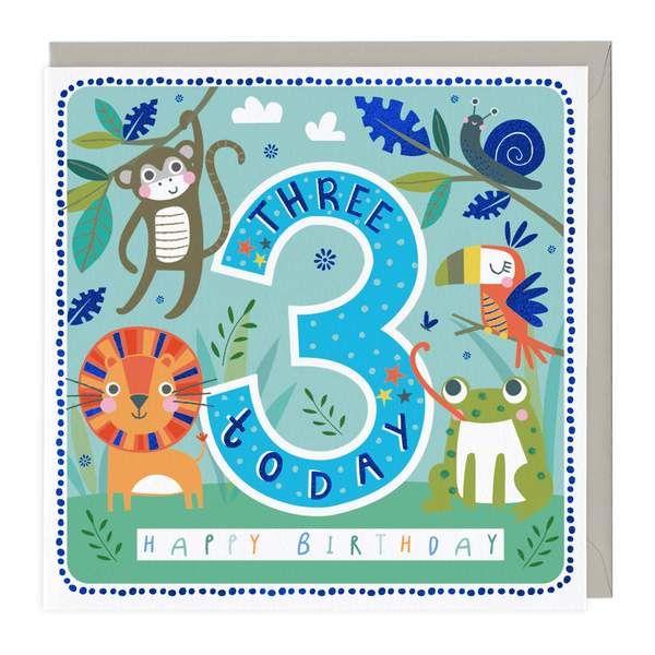 3rd Birthday Card - Cheerful Jungle