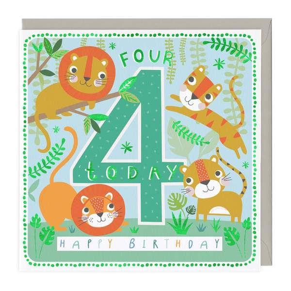 4th Birthday Card - Wild Animals