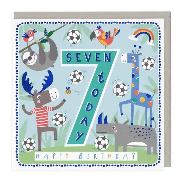 7th Birthday Card - Football Friends