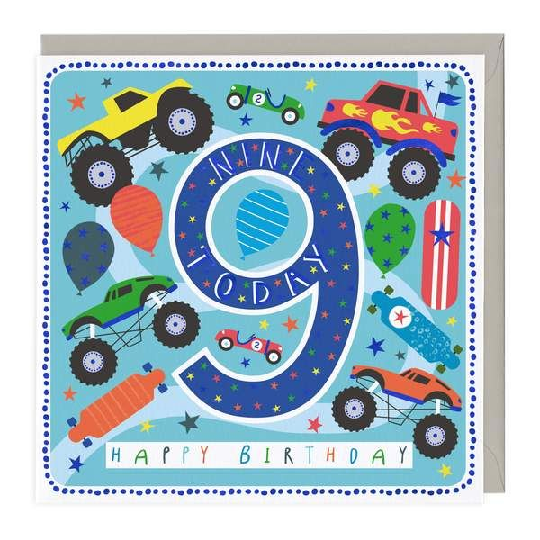 9th Birthday Card - Monster Trucks