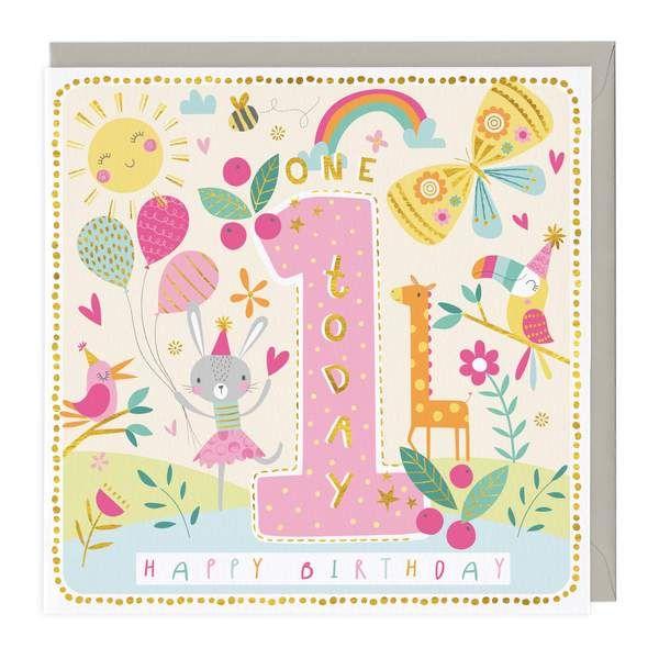 1st Birthday Card - Sunny Party