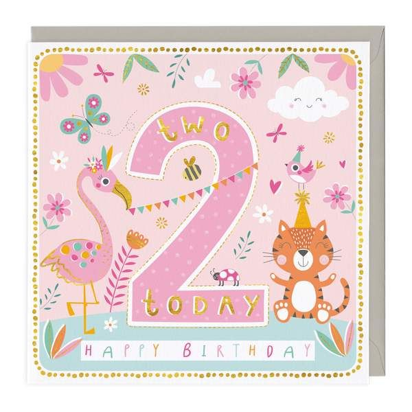 2nd Birthday Card - Cheerful Animals